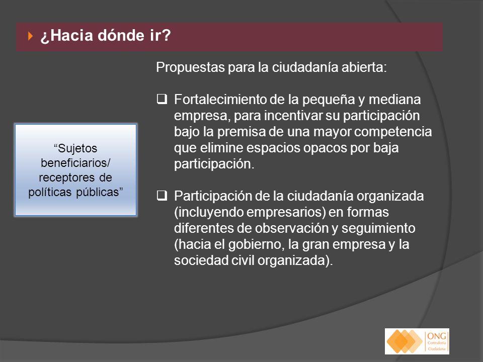 Sujetos beneficiarios/ receptores de políticas públicas