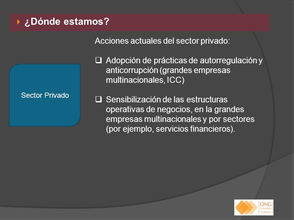 ¿Dónde estamos Acciones actuales del sector privado: