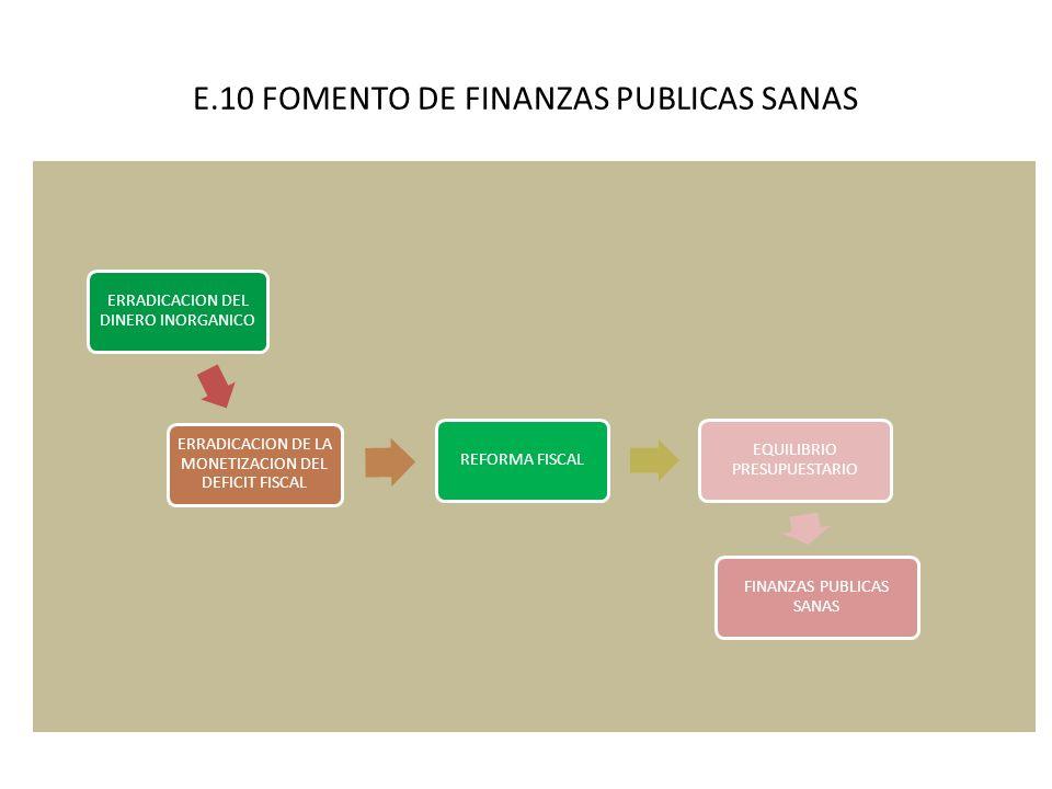 E.10 FOMENTO DE FINANZAS PUBLICAS SANAS