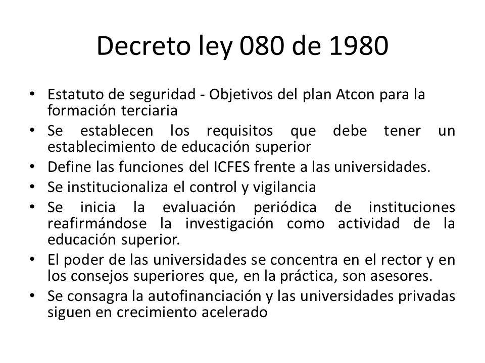 Decreto ley 080 de 1980 Estatuto de seguridad - Objetivos del plan Atcon para la formación terciaria.