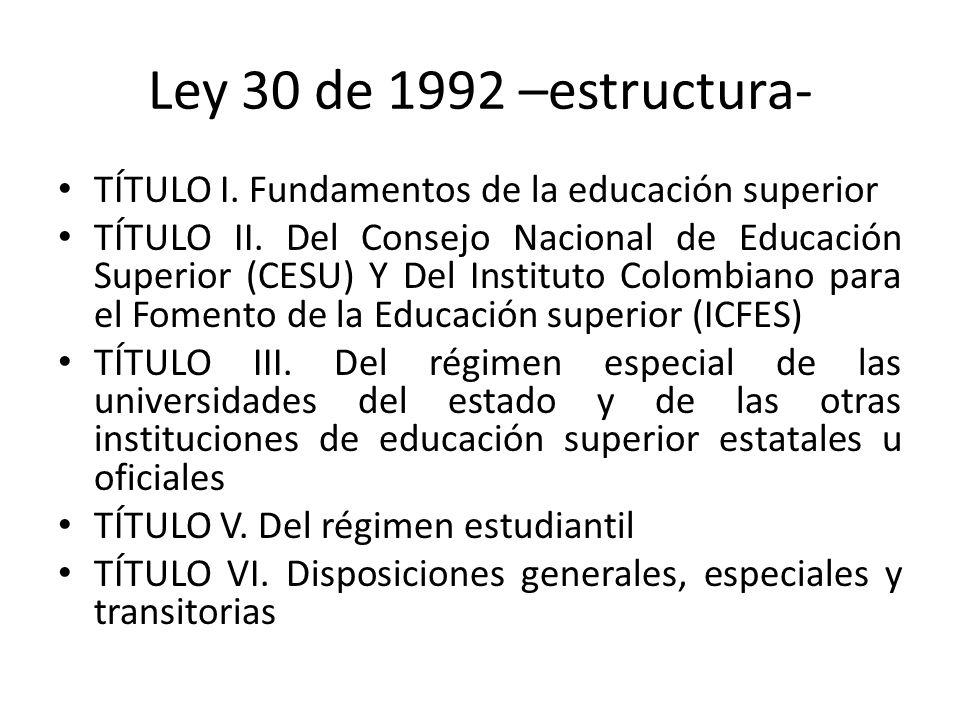 Ley 30 de 1992 –estructura- TÍTULO I. Fundamentos de la educación superior.