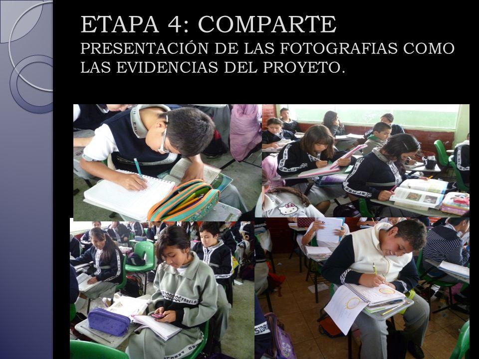 ETAPA 4: COMPARTE PRESENTACIÓN DE LAS FOTOGRAFIAS COMO LAS EVIDENCIAS DEL PROYETO.