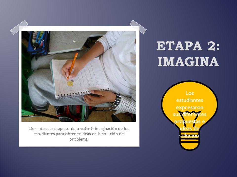 ETAPA 2: IMAGINA Los estudiantes expresaron sus diferentes propuestas e ideas de solución.