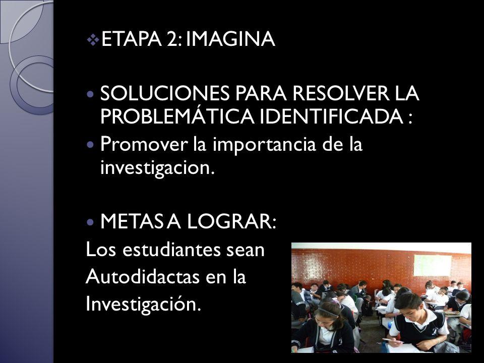 ETAPA 2: IMAGINA SOLUCIONES PARA RESOLVER LA PROBLEMÁTICA IDENTIFICADA : Promover la importancia de la investigacion.