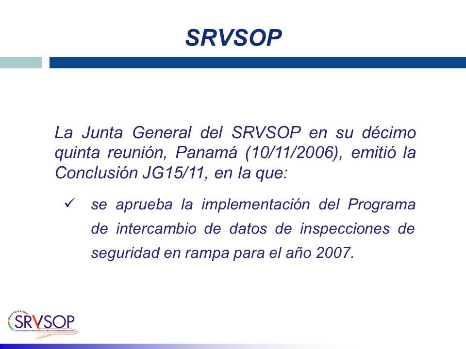 SRVSOP La Junta General del SRVSOP en su décimo quinta reunión, Panamá (10/11/2006), emitió la Conclusión JG15/11, en la que: