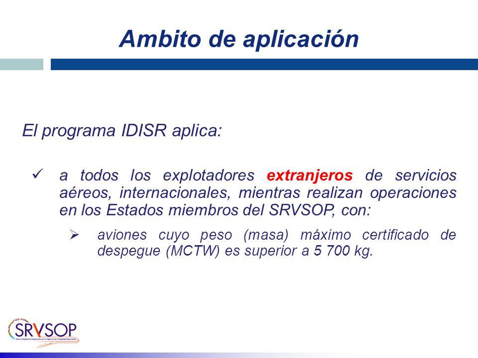 Ambito de aplicación El programa IDISR aplica: