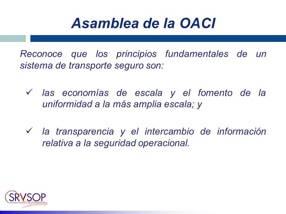Asamblea de la OACI Reconoce que los principios fundamentales de un sistema de transporte seguro son: