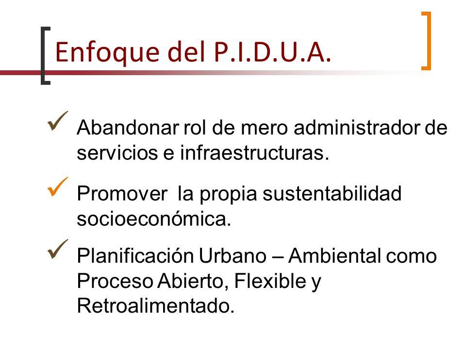Enfoque del P.I.D.U.A. Abandonar rol de mero administrador de servicios e infraestructuras. Promover la propia sustentabilidad socioeconómica.