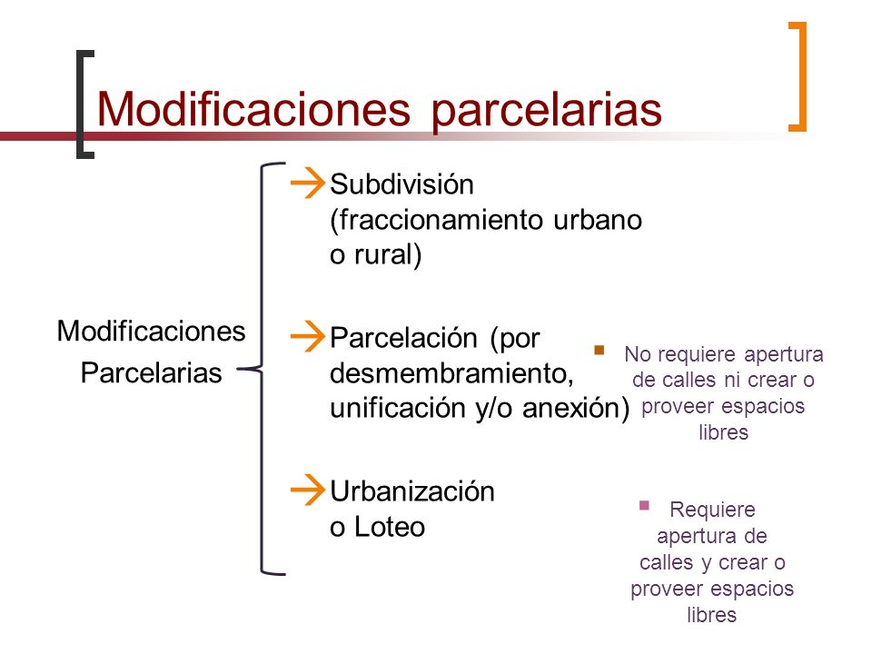 Modificaciones parcelarias