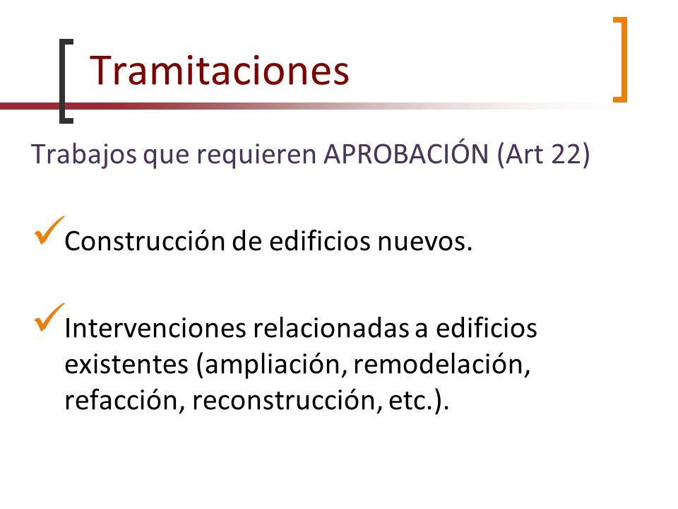 Tramitaciones Trabajos que requieren APROBACIÓN (Art 22)