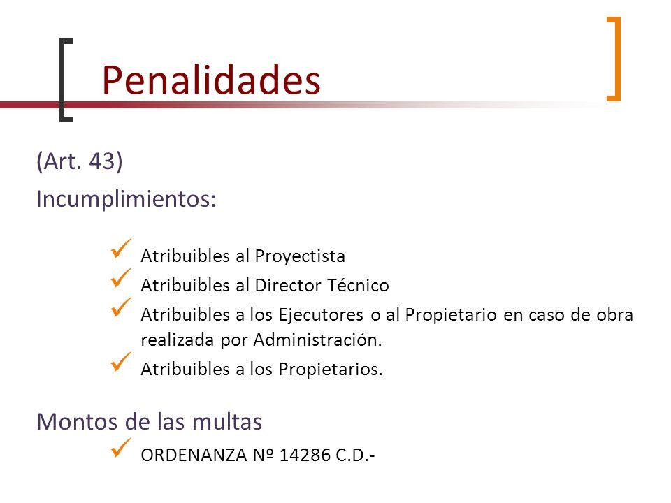 Penalidades (Art. 43) Incumplimientos: Montos de las multas