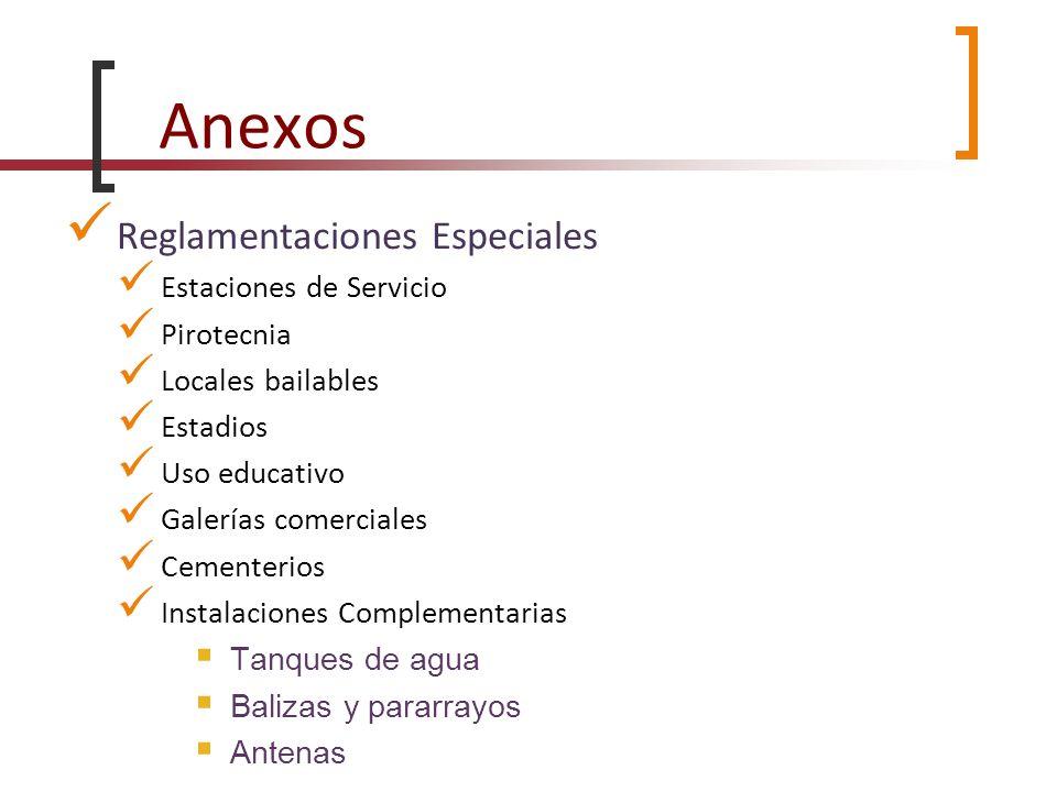 Anexos Reglamentaciones Especiales Estaciones de Servicio Pirotecnia