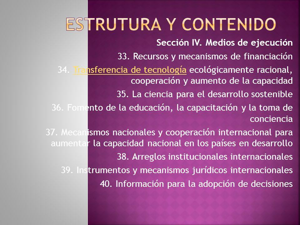 Estrutura y contenido Sección IV. Medios de ejecución
