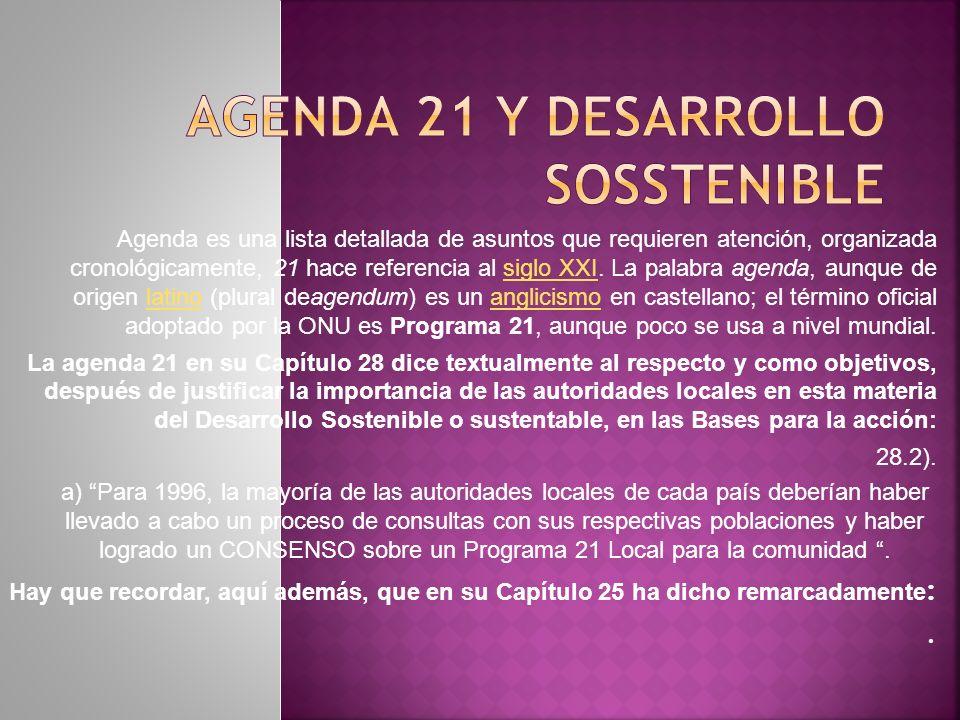 AGENDA 21 Y DESARROLLO SOSSTENIBLE