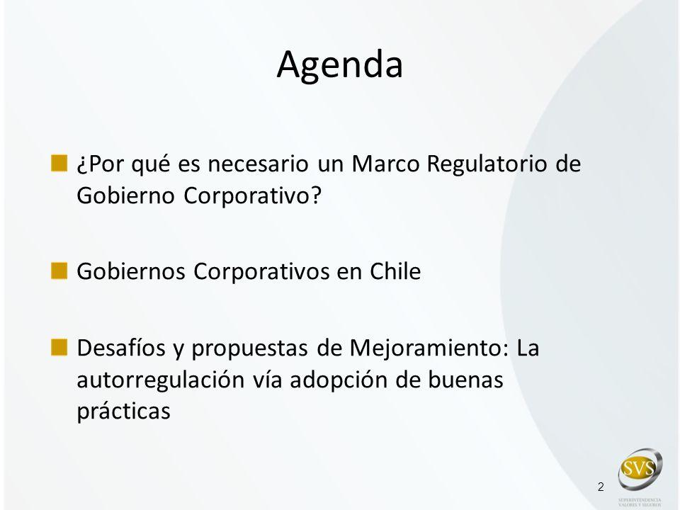 Agenda ¿Por qué es necesario un Marco Regulatorio de Gobierno Corporativo Gobiernos Corporativos en Chile.