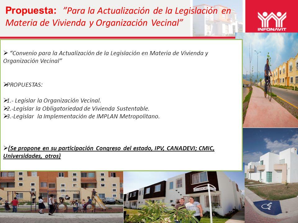 Propuesta: Para la Actualización de la Legislación en Materia de Vivienda y Organización Vecinal