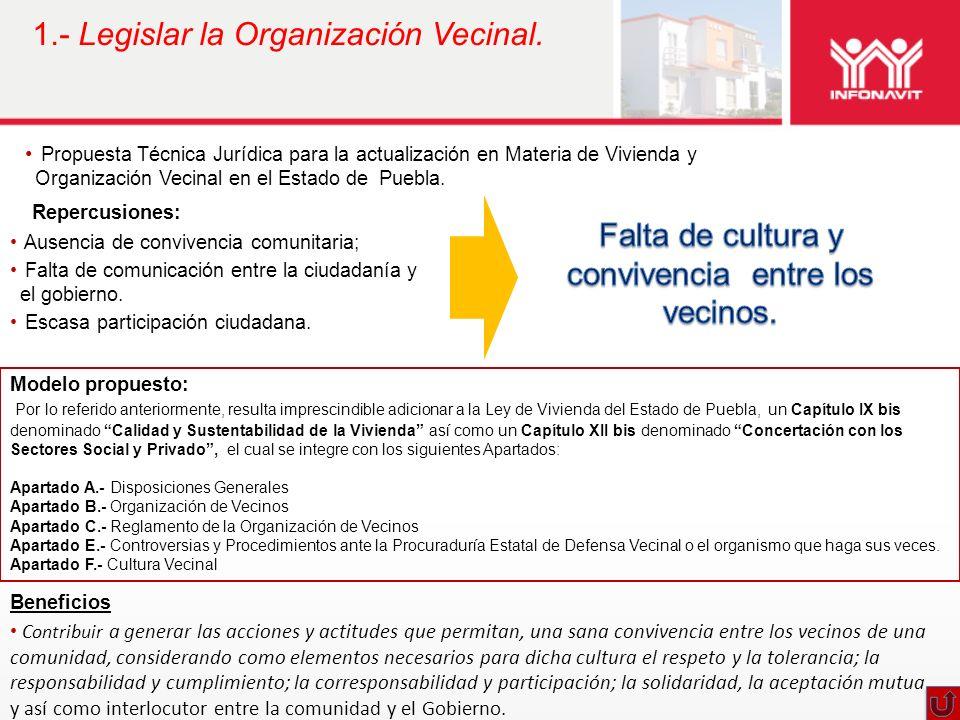 1.- Legislar la Organización Vecinal.