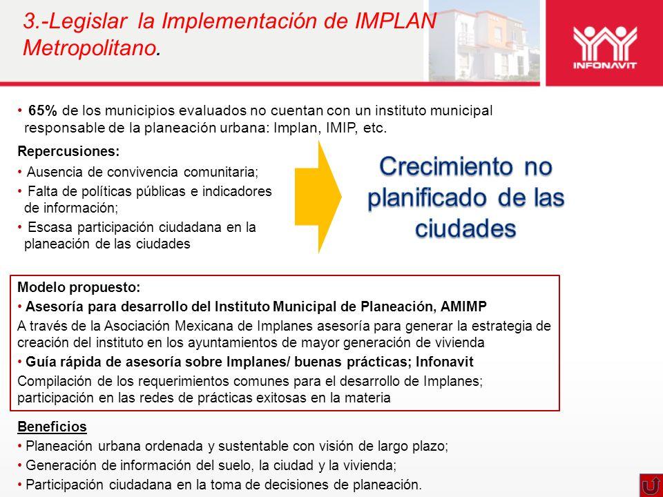 3.-Legislar la Implementación de IMPLAN Metropolitano.
