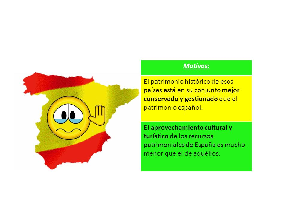 Motivos: El patrimonio histórico de esos países está en su conjunto mejor conservado y gestionado que el patrimonio español.