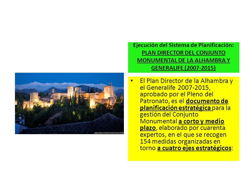 Ejecución del Sistema de Planificación: PLAN DIRECTOR DEL CONJUNTO MONUMENTAL DE LA ALHAMBRA Y GENERALIFE (2007-2015)