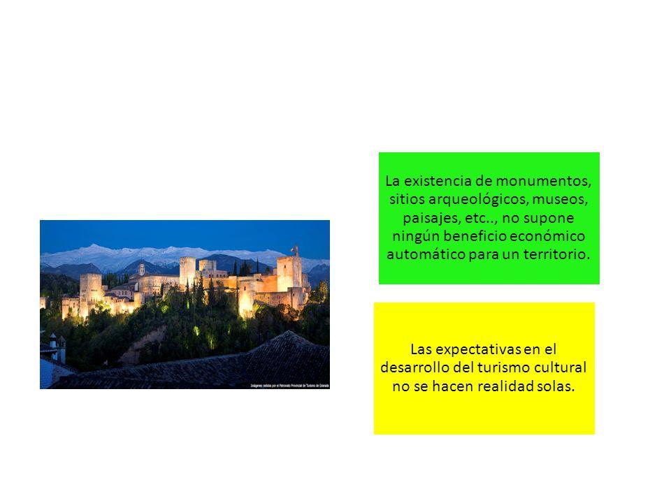 La existencia de monumentos, sitios arqueológicos, museos, paisajes, etc.., no supone ningún beneficio económico automático para un territorio.