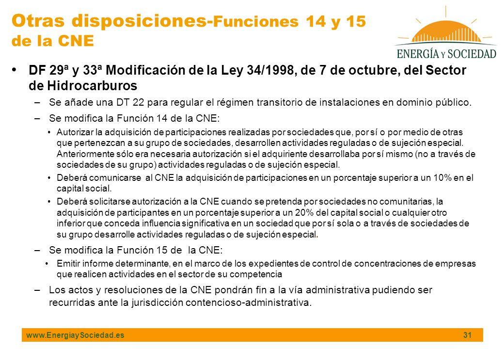 Otras disposiciones-Funciones 14 y 15
