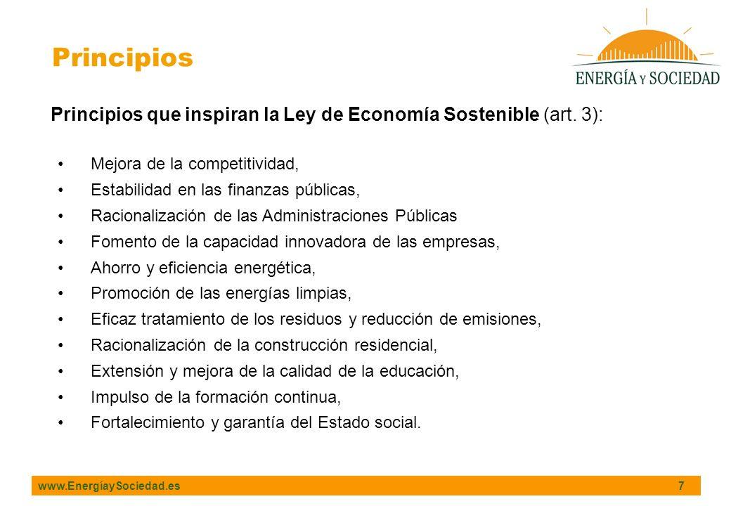 Principios Principios que inspiran la Ley de Economía Sostenible (art. 3): Mejora de la competitividad,