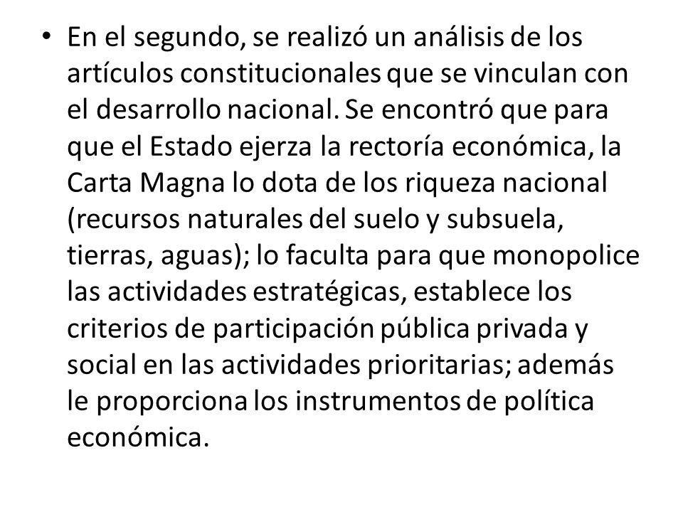 En el segundo, se realizó un análisis de los artículos constitucionales que se vinculan con el desarrollo nacional.
