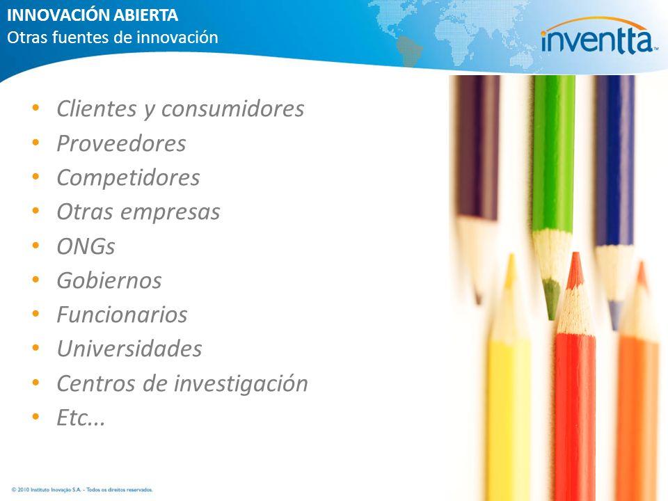 Clientes y consumidores Proveedores Competidores Otras empresas ONGs