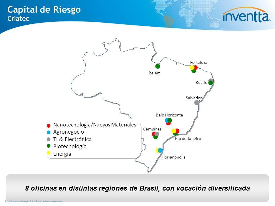 8 oficinas en distintas regiones de Brasil, con vocación diversificada