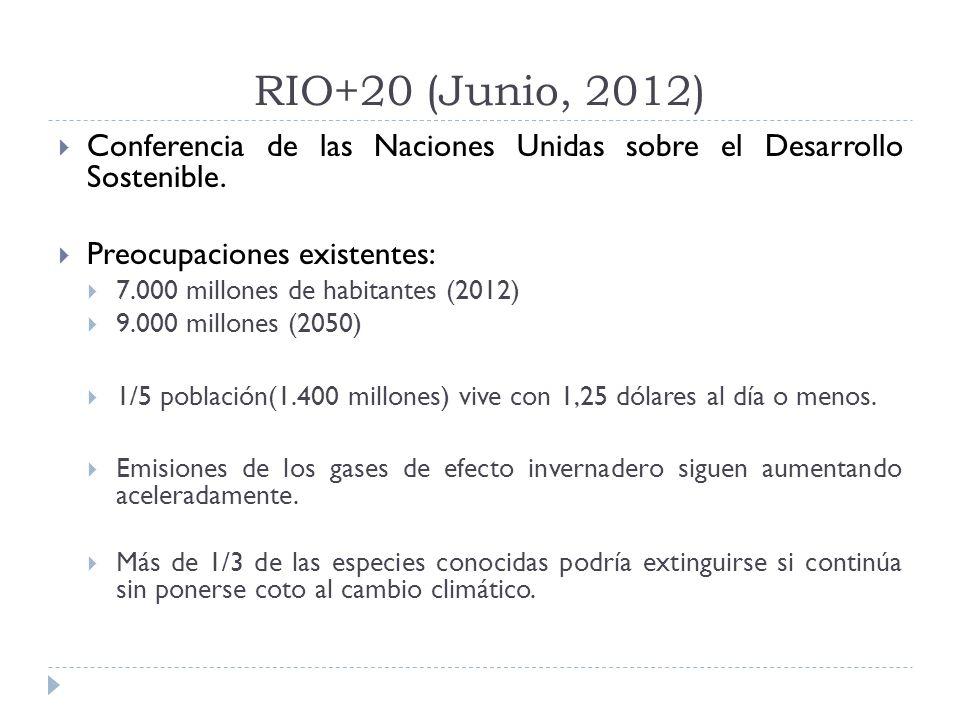 RIO+20 (Junio, 2012) Conferencia de las Naciones Unidas sobre el Desarrollo Sostenible. Preocupaciones existentes: