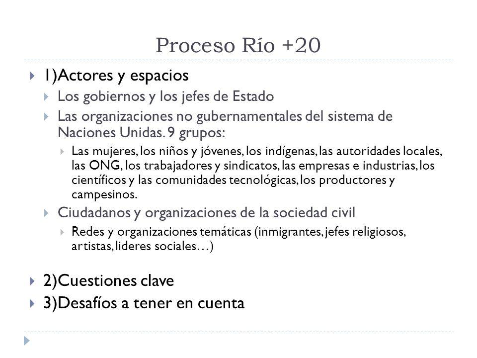 Proceso Río +20 1)Actores y espacios 2)Cuestiones clave