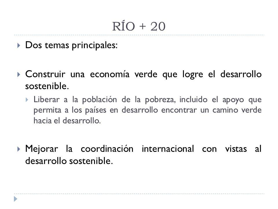 RÍO + 20 Dos temas principales: