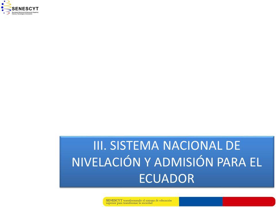 III. SISTEMA NACIONAL DE NIVELACIÓN Y ADMISIÓN PARA EL ECUADOR
