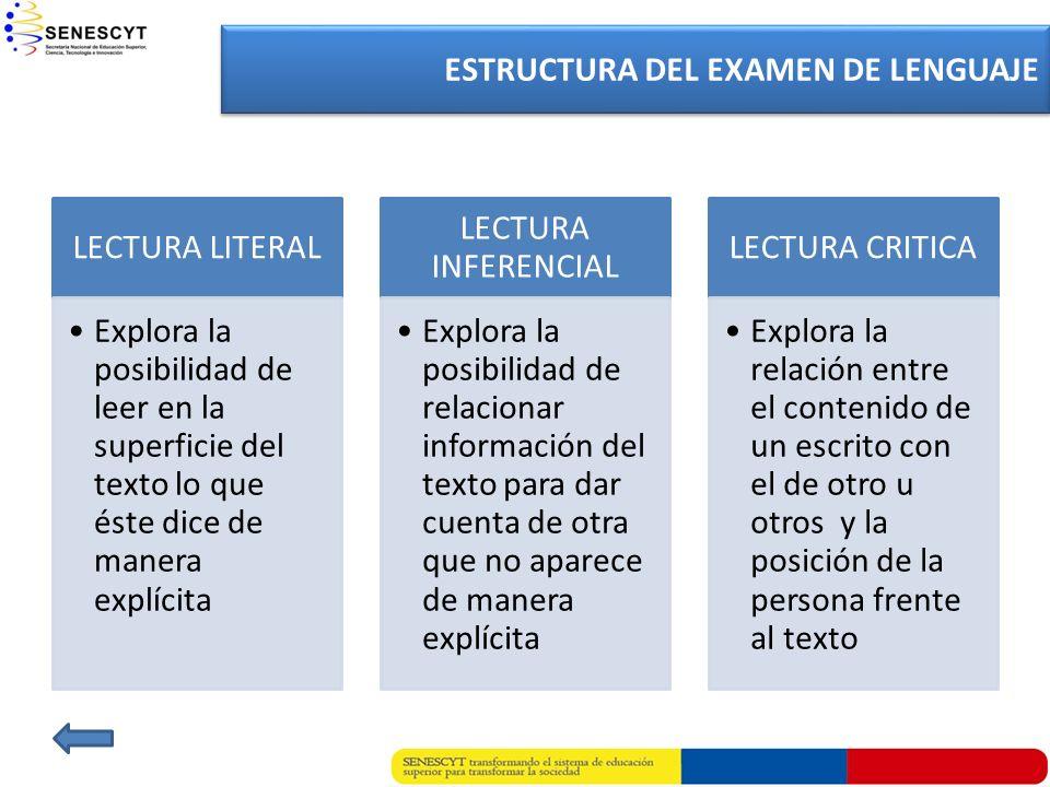 LENGUAJE ESTRUCTURA DEL EXAMEN DE LENGUAJE LECTURA LITERAL