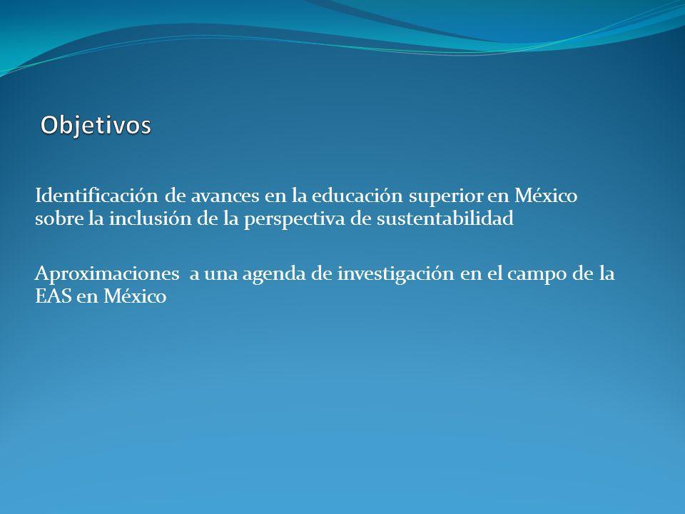 Objetivos Identificación de avances en la educación superior en México sobre la inclusión de la perspectiva de sustentabilidad.