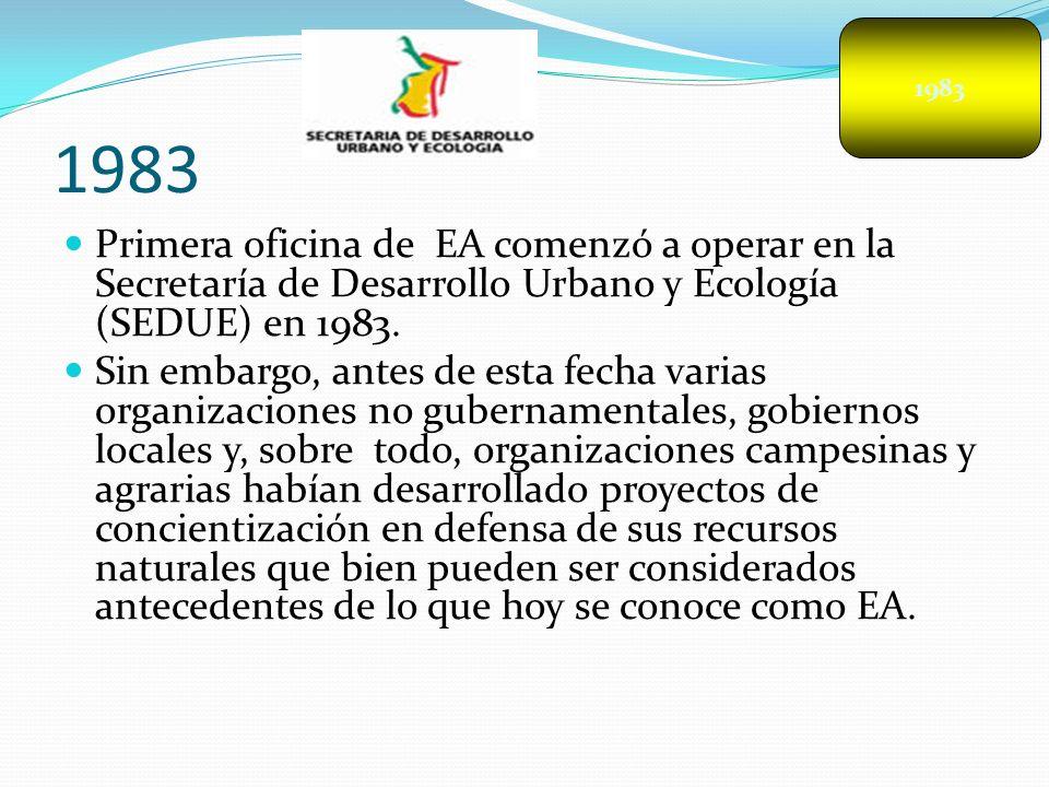 1983 1983. Primera oficina de EA comenzó a operar en la Secretaría de Desarrollo Urbano y Ecología (SEDUE) en 1983.