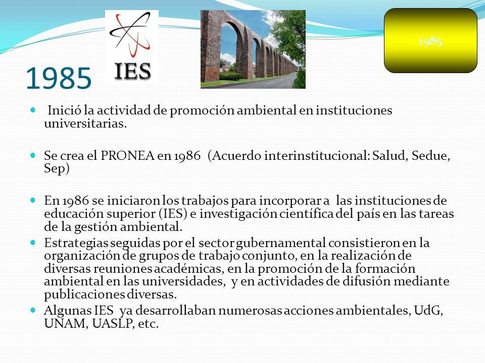 1985 1985. Inició la actividad de promoción ambiental en instituciones universitarias.
