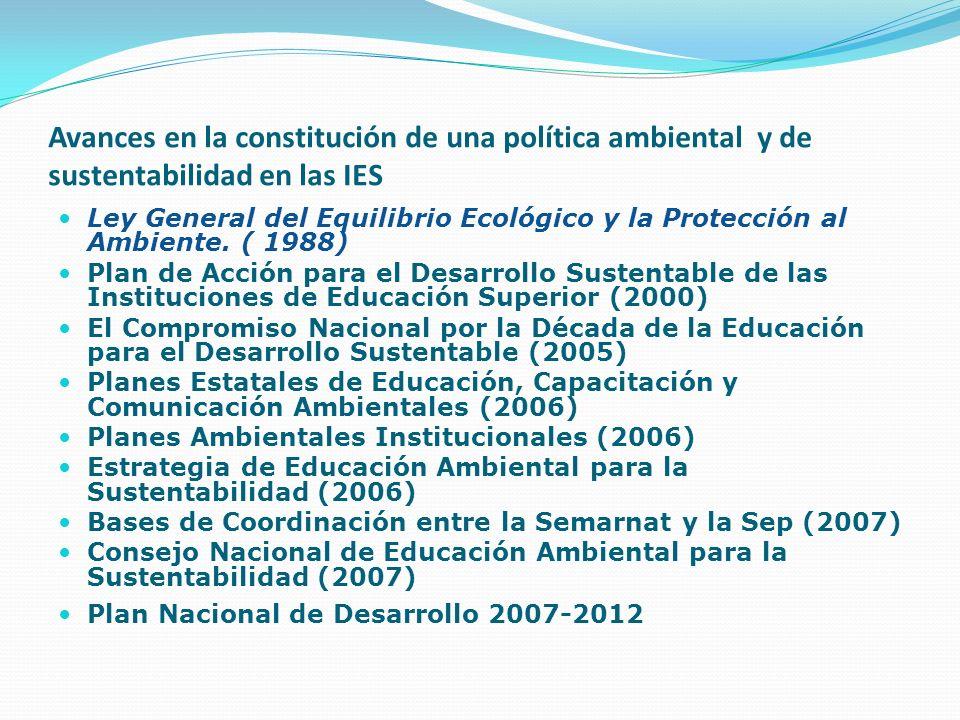Avances en la constitución de una política ambiental y de sustentabilidad en las IES