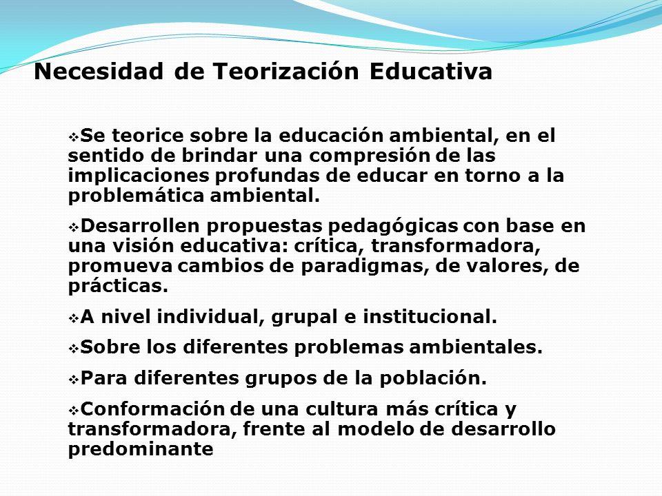 Necesidad de Teorización Educativa