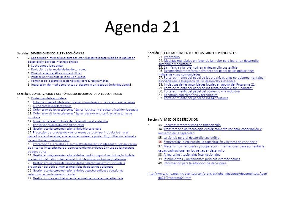 Agenda 21 Sección III. FORTALECIMIENTO DE LOS GRUPOS PRINCIPALES