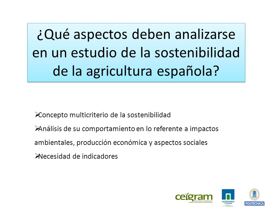 ¿Qué aspectos deben analizarse en un estudio de la sostenibilidad de la agricultura española