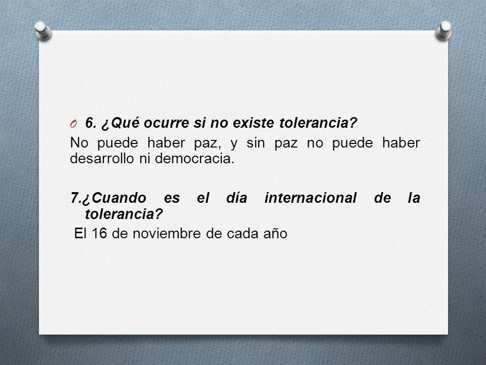 6. ¿Qué ocurre si no existe tolerancia