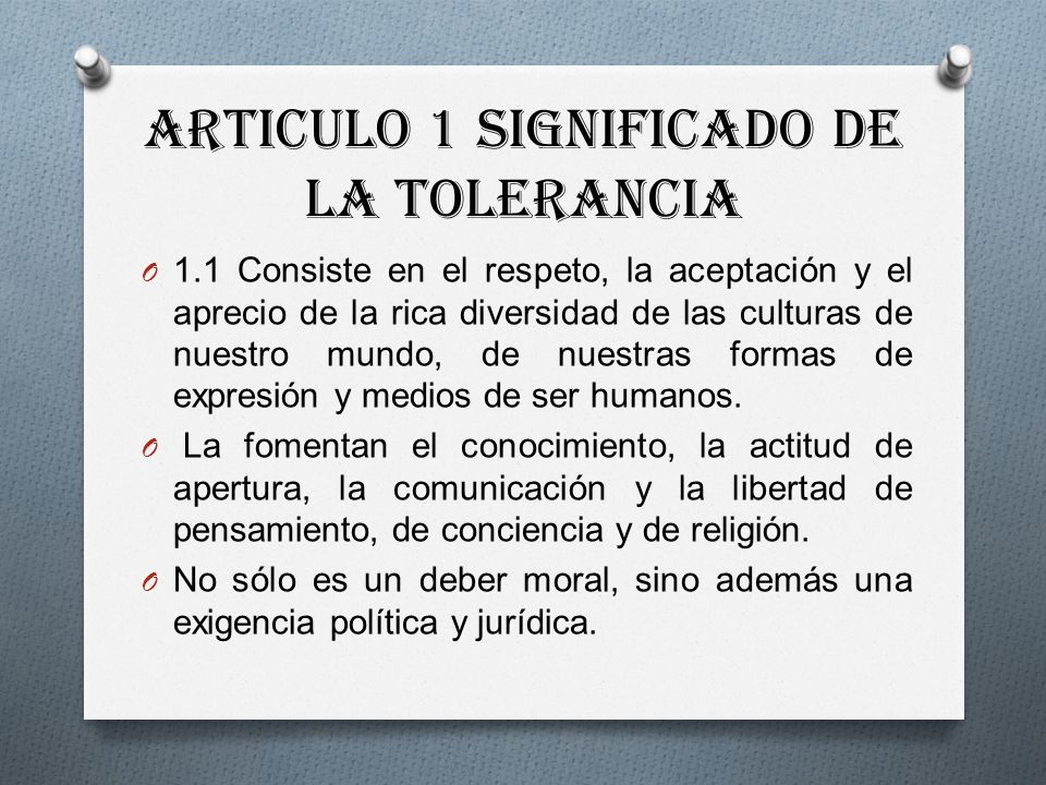 Articulo 1 Significado de la Tolerancia