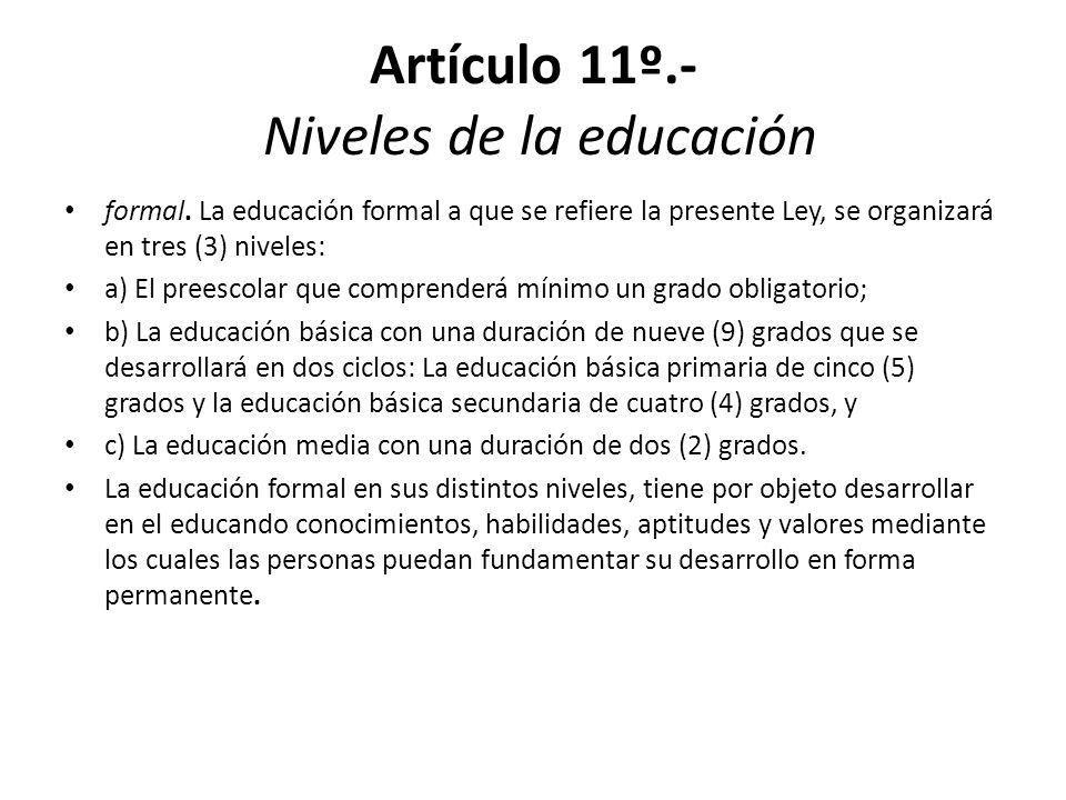 Artículo 11º.- Niveles de la educación
