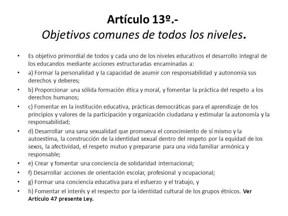 Artículo 13º.- Objetivos comunes de todos los niveles.