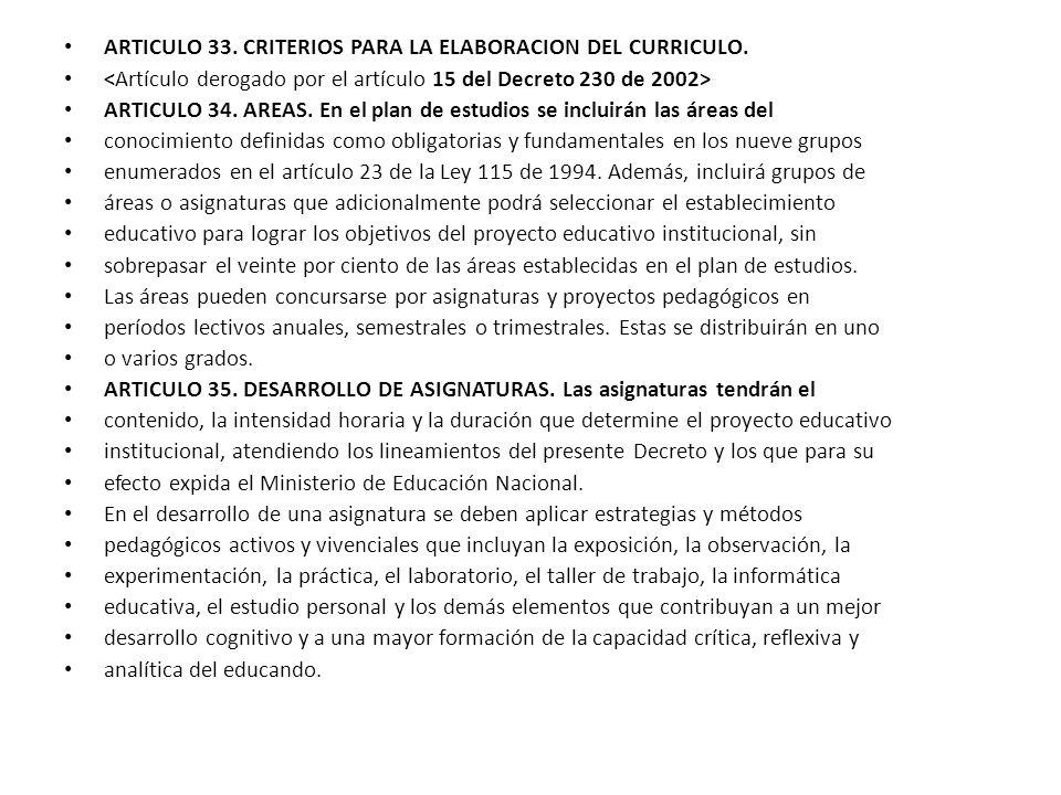ARTICULO 33. CRITERIOS PARA LA ELABORACION DEL CURRICULO.