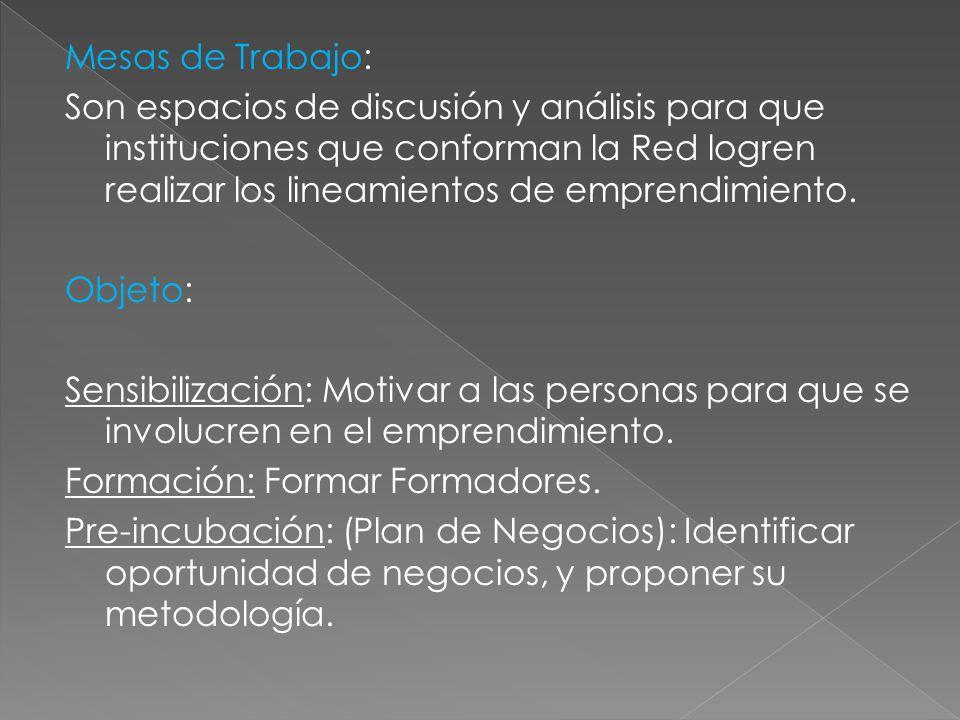 Mesas de Trabajo: Son espacios de discusión y análisis para que instituciones que conforman la Red logren realizar los lineamientos de emprendimiento.