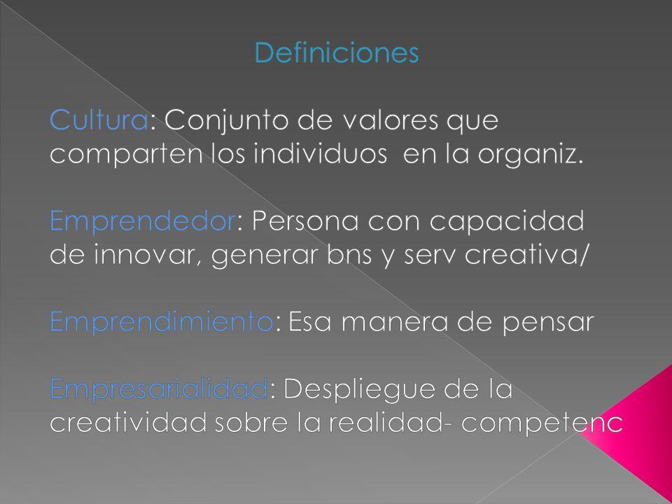 Definiciones Cultura: Conjunto de valores que comparten los individuos en la organiz.