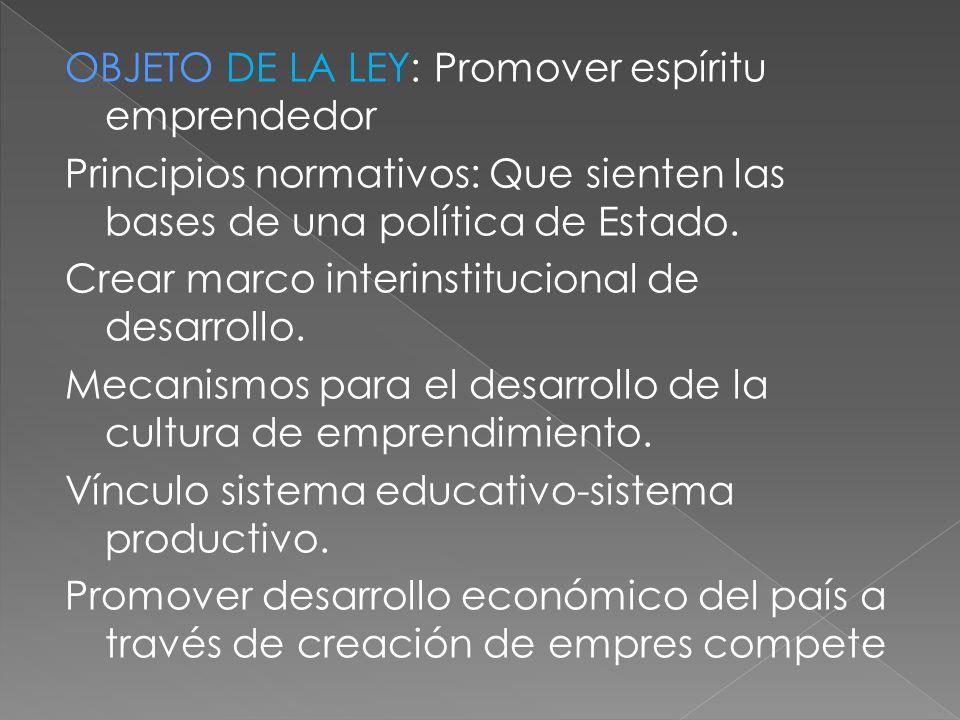OBJETO DE LA LEY: Promover espíritu emprendedor Principios normativos: Que sienten las bases de una política de Estado.